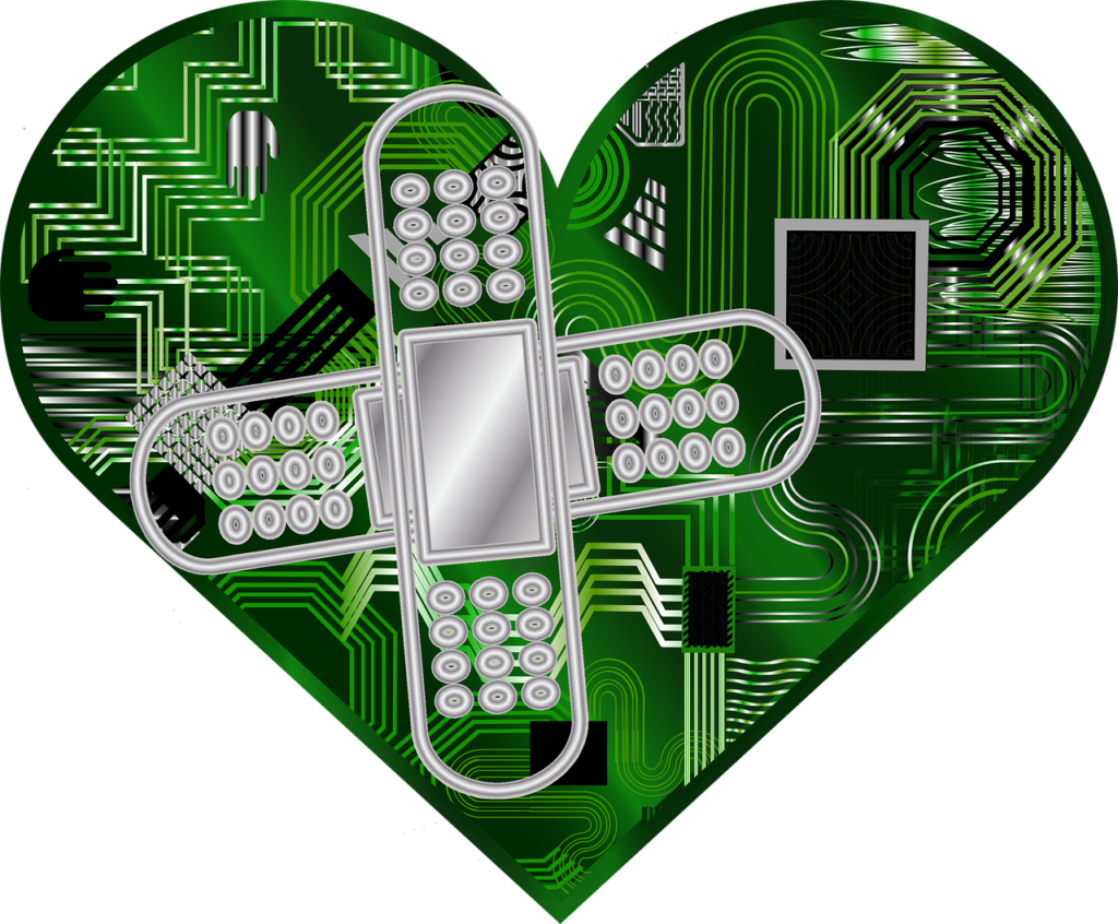 green heart with bandaid - outsourced IT - lightbulb networks